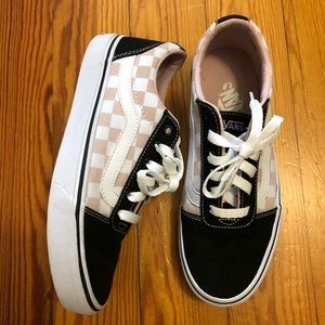 Vans pink checkered lace up sneakers Size 7